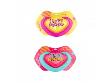 Canpol babies Set symetrických silikonových dudlíků Light touch 6-18m NEON LOVE růžový