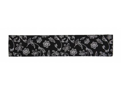 Potah na madlo kočárku - černé kytky