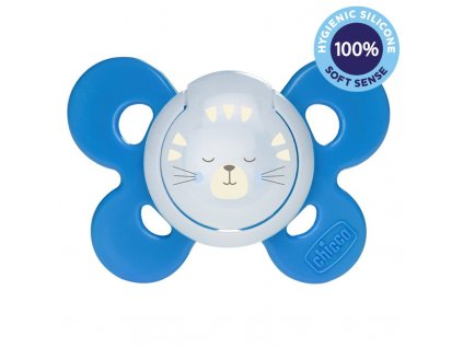 CHICCO Dudlík Physio Comfort silikon noční chlapec - méďa 1 ks, 16-36 m+