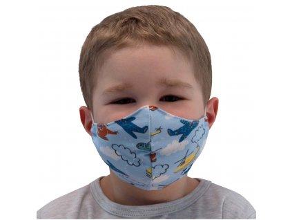 ESITO NANO antibakteriální rouška stříbro Letadla modrá vel. XS - modrá / XS ESHYGROUBAVLGN