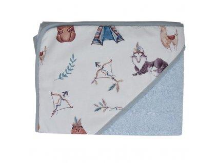 OK-09 Dětská osuška Bavlna+bavlněné froté Indians animals