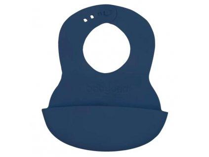 BABYONO Bryndák měkký plastový s kapsou bez BPA dark blue 6 m+