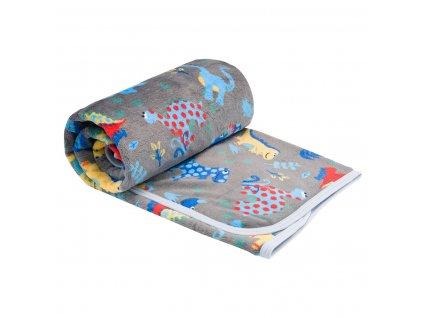 ESITO Dětská deka jednoduchá Dinosaurus - 75 x 100 cm / šedá ESDEKJEDDSR