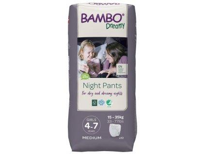 BAMBO Dreamy Night Kalhotky plenkové jednorázové Pants Girl 4-7 let, 10 ks, pro 15-35 kg
