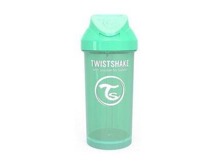 TWISTSHAKE Láhev s brčkem 360 ml (6m+) pastelově zelená