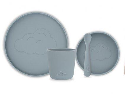 Silikonový jídelní set Storm grey 4ks