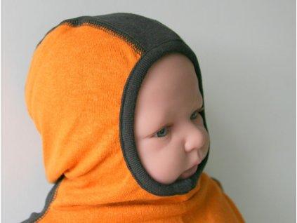Manymonths Hemp Vogue sloní čepice oranžová/černá