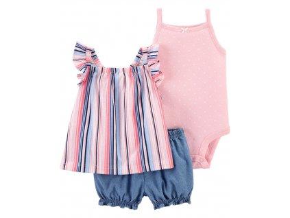 CARTER'S Set 3dílný body tílko, tunika, kalhoty kr. Pink Stripe dívka 9 m, vel. 74