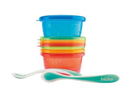 NUBY Set na jídlo 4 misky s víčkem 300 ml a 2 lžičky 3m+