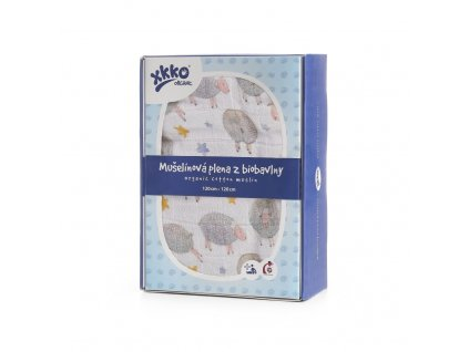 Biobavlněná plena XKKO Organic 120x120 - Dreamy Sheeps