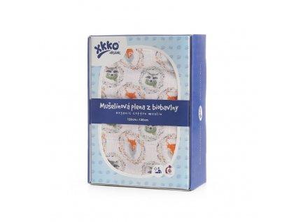Biobavlněná plena XKKO Organic 120x120 - Fox&Raccoon