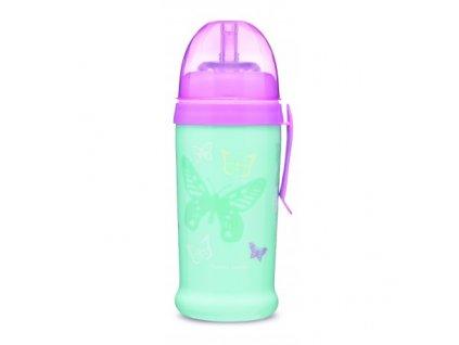 Canpol babies Sportovní láhev se silikonovou nevylévací slámkou MOTÝLEK 350 ml tyrkysová