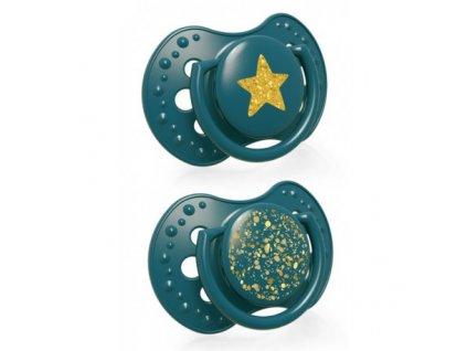LOVI Dudlík silikonový dynamický Stardust 6-18m 2ks zelený