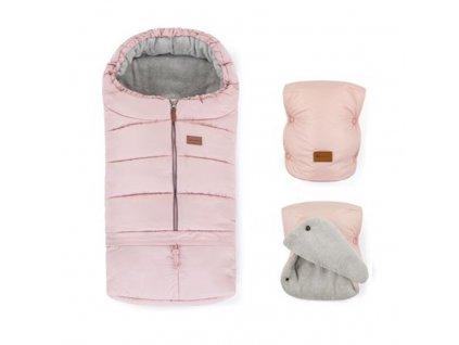 PETITE&MARS Zimní set fusak Jibot 3v1 + rukavice na kočárek Jasie Flamingo Pink