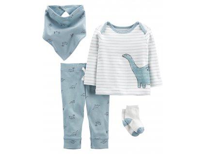 CARTER'S Set 4dílny tričko dl. rukáv, tepláky, ponožky, bryndáček Blue Dino chlapec LBB NB, vel. 56