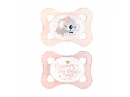 Canpol babies Set symetrických silikonových MINI dudlíků 0-2m SLEEPY KOALA růžový