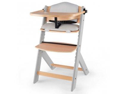 KINDERKRAFT Židlička jídelní Enock s vložkou Grey wooden