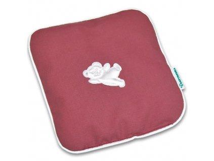 Nahřívací polštářek z třešňových pecek Ribbon 15x15 cm Bear old pink white