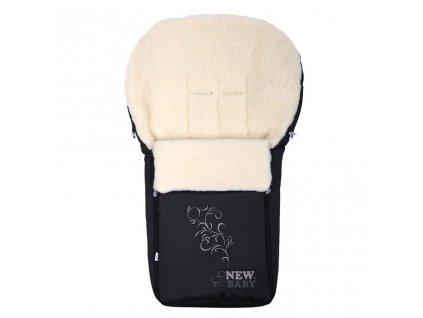 Luxusný fusak s ovčím rúnom New Baby černý