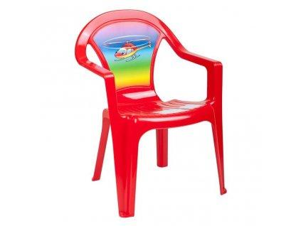 Detský záhradný nábytok - Plastová stolička červená vrtulník