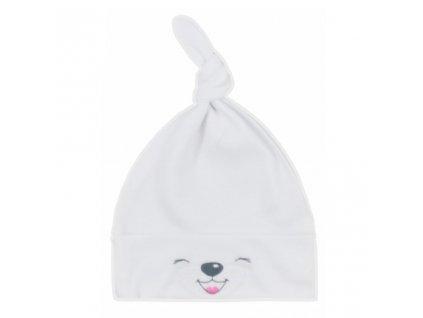 Bavlnená dojčenská čiapočka Bobas Fashion Lucky biela