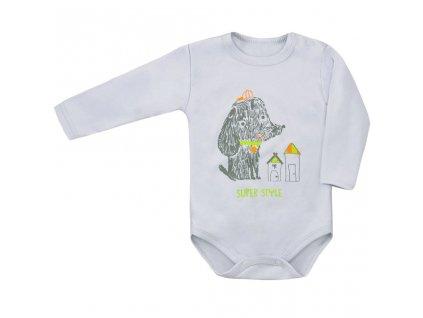 Dojčenské body s dlhým rukávom Super Style Amma sivé