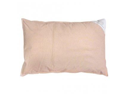 Obliečka na vankúš béžová s bodkami - 60x40 cm