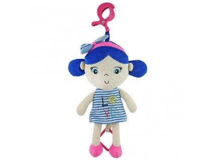 Edukačná hrajúca plyšová bábika Baby Mix námorník dievča blue