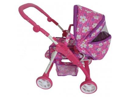 Detský kočík pre bábiky 2v1 Baby Mix fialový - kvetinky