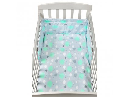 3-dielne posteľné obliečky New Baby 90/120 cm obláčiky mätové