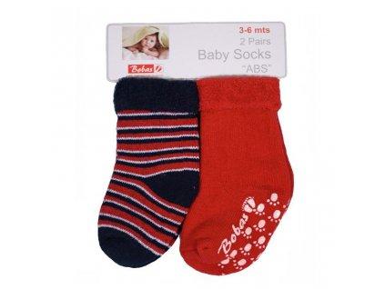 Dojčenské froté ponožky Bobo Baby červené 2 páry