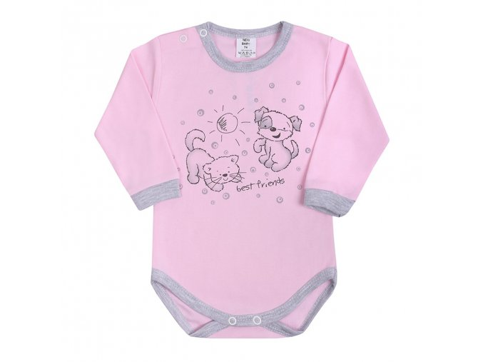 Dojčenské body s dlhým rukávom New Baby Kamaráti ružové