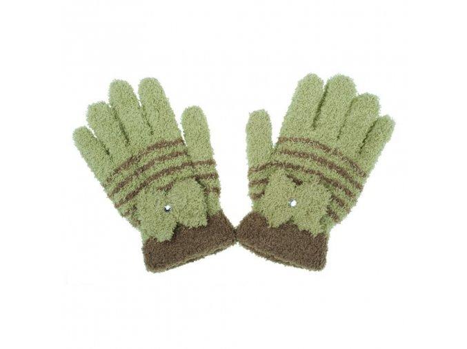 Detské zimné froté rukavičky New Baby olivové