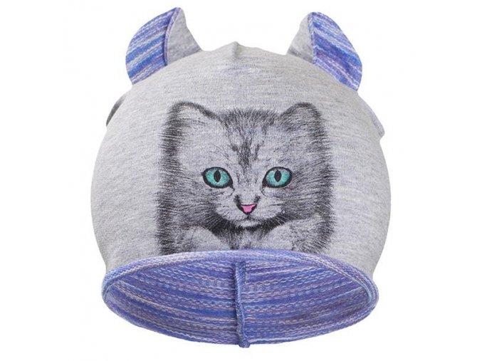 Jesenná detská čiapočka New Baby mačička fialová