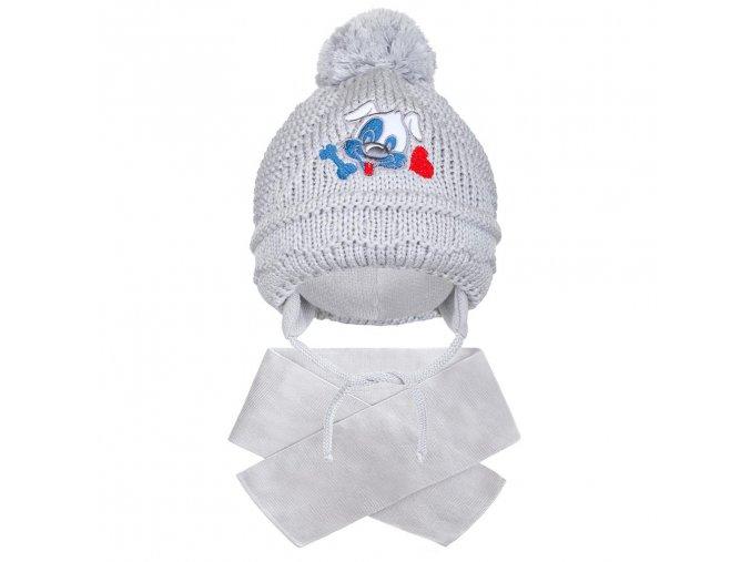 Zimná detská čiapočka so šálom New Baby psík sivá