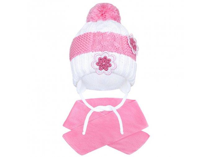 Zimná detská čiapočka so šálom New Baby kvietočky ružová