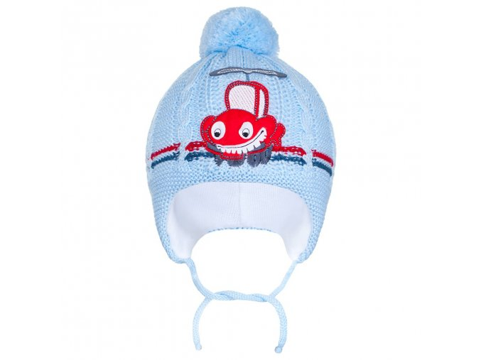 Zimná detská čiapočka New Baby autíčko bledo modrá