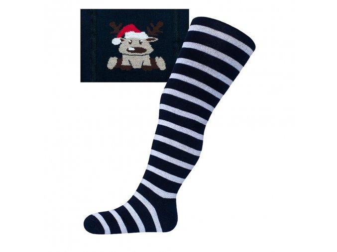 Vianočné bavlnené pančucháčky New Baby tmavo modré so sobom