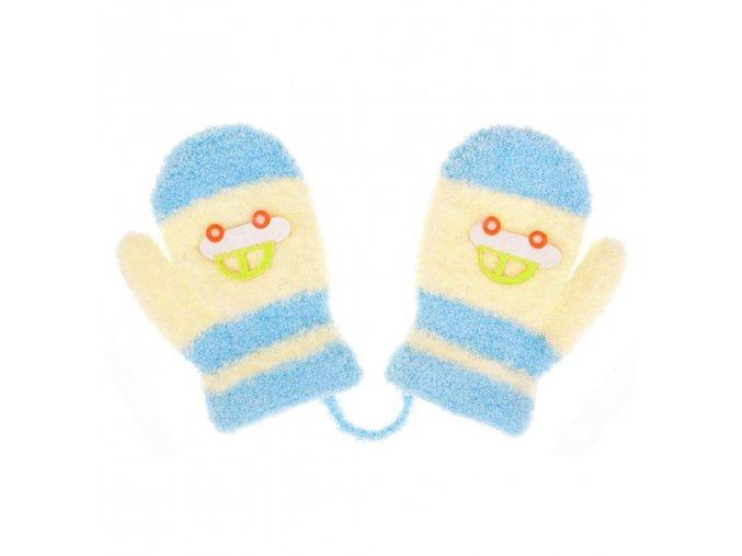 Detské rukavičky New Baby s autom svetlo modro-žlté