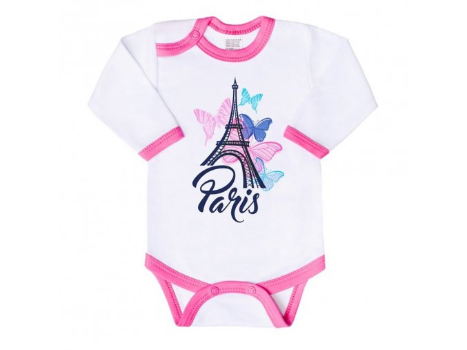 Dojčenské body s dlhým rukávom New Baby Towns ružové