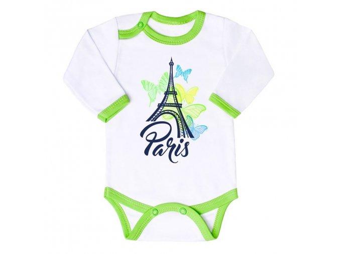Dojčenské body s dlhým rukávom New Baby Towns zelené
