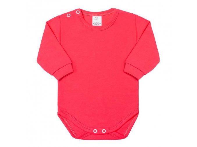 Dojčenské body s dlhým rukávom New Baby tmavo ružové