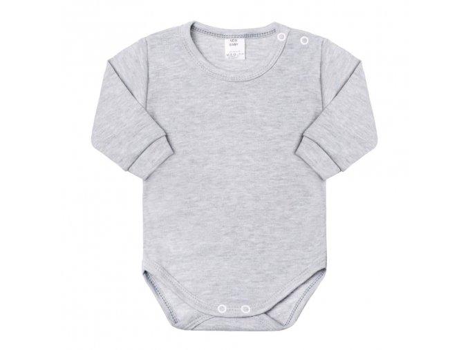 Dojčenské body s dlhým rukávom New Baby sivé