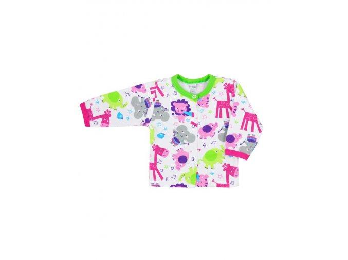 Dojčenský kabátik Bobas Fashion Zoo zelený pre dievčatá