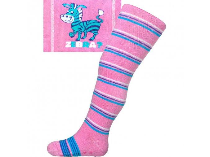 Bavlnené pančucháčky New Baby s ABS ružové zebra s pruhmi