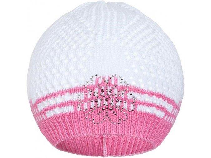 Pletená čiapočka New Baby kytička ružová