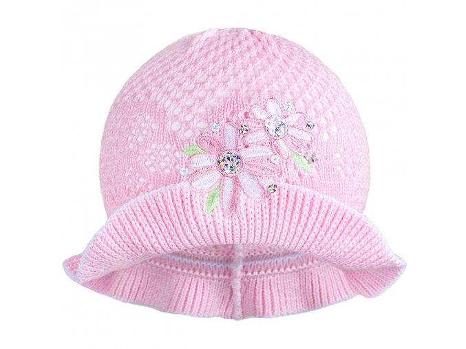 Pletený klobúčik New Baby ružovo-biely