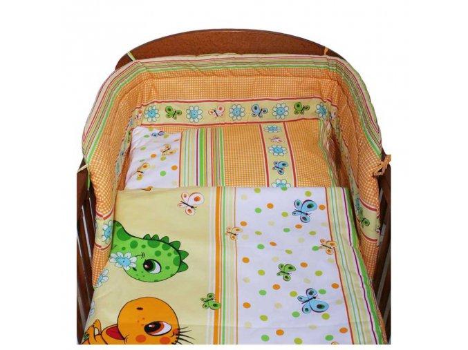 <p>3-dielne posteľné obliečky New Baby 100/135 cm oranžové s dinom</p>