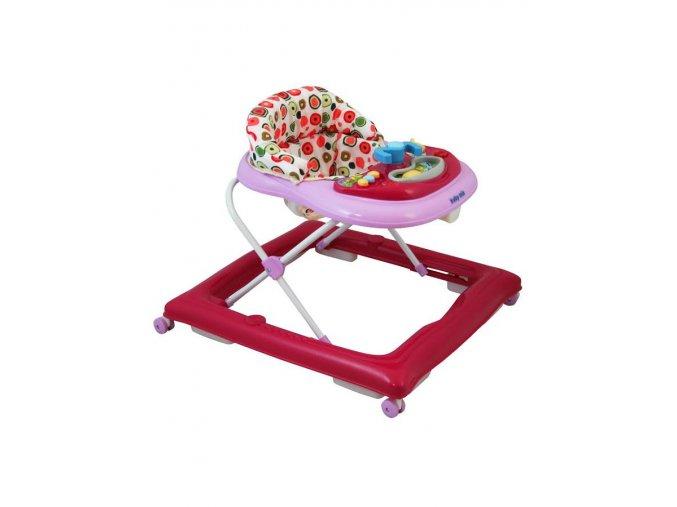 Detské chodítko Baby Mix s volantom a silikónovými kolieskami tmavo ružové