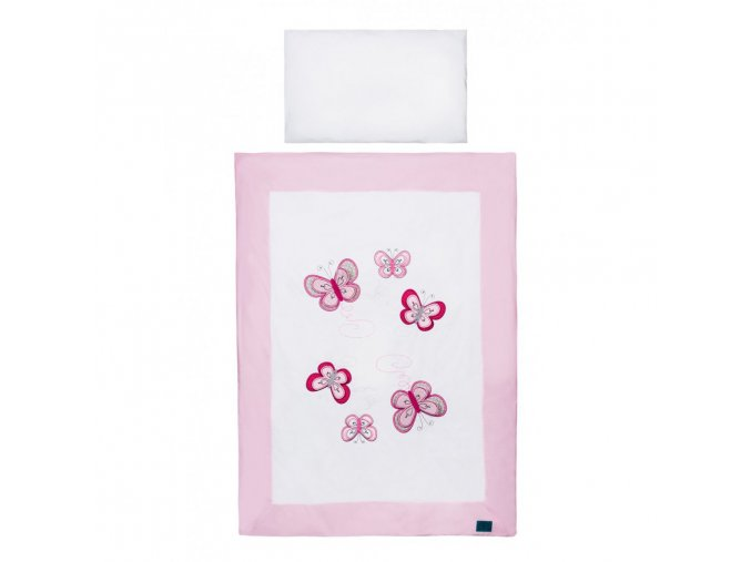 3-dielne posteľné obliečky Belisima Motýlik 100/135 ružové